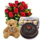 Flowers Teddy_Cake Ferrero Rocher Combo