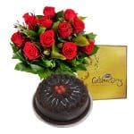 12 redroses, cake and celebrations combo