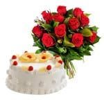 12 red roses and eggless cake
