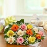 mixed roses flat bunch
