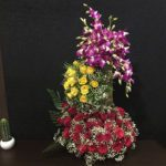 3 tier roses and orchids arangements