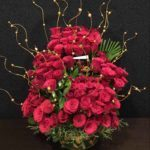 100 Red Roses Step Arrangement