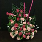 Pink Roses Carnation Arrangement