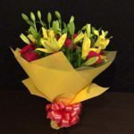Yellow Asiatic Lilies Red Roses Bunch