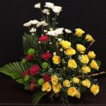 Yellow Roses Carnations Chrysanthemum Arrangement