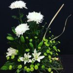 Green White Chrysanthemum Lilies Arrangement