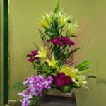 Yellow Lilies Purple Orchids & Carnations