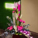 charming pink flower arrangement chennai